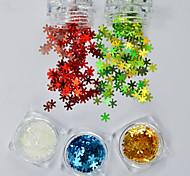 abordables -5pcs/set Brillante Joyería de uñas Nail Glitter ornamentos de Navidad Lentejuelas Copo Brillos Y Estrellas Navidad Lujo Lentejuelas