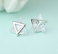 Women's Stud Earrings AAA Cubic Zirconia Fashion Personalized Stainless Steel Cubic Zirconia Triangle Shape Jewelry For Gift Casual