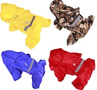 Dog Rain Coat Dog Clothes Casual/Daily Solid Yellow Red Blue Camouflage Color Costume For Pets