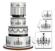economico -La muffa del modello della decorazione del bigné della cucina dello stencil del regalo di fondente di figura del lampadario 3pcs