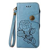 Недорогие -Кейс для Назначение Apple iPhone X iPhone 8 iPhone 8 Plus Бумажник для карт Флип Рельефный Чехол Цветы Твердый Кожа PU для iPhone X