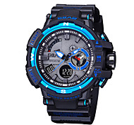 Herrn Kinder Sportuhr Modeuhr Armbanduhr Quartz LCD Kalender Wasserdicht Duale Zeitzonen Stopuhr PU Band Cool Bequem Schwarz