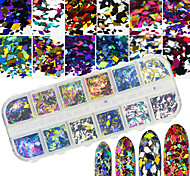 12Styles/Box Nail Art Glitter Sequins Rhombus Design 3D Nail Salon Accessories