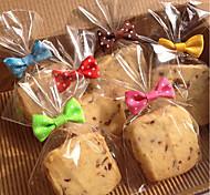50pcs лук узел печенье мешок герметик выпечки хлеб леденец торт пакет случайный цвет