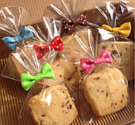 50pcs Bow Knot Cookie Bag Sealer Baking Bread Lollipop Cake Package Random Color