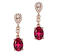 Women's Stud Earrings Synthetic Ruby AAA Cubic Zirconia Fashion Luxury Stainless Steel Cubic Zirconia Drop Jewelry For Gift Going out