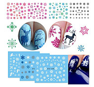 18pcs/Set Hot Fashion Xmas Colorful Snowflake Nail Art Water Transfer Sticker Cute Christmas Deer Snowman Water Transfer Decals Decoration STZ419-436