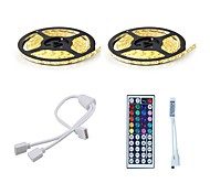 Light Set 72W 10M (2 * 5) 5050 600 Waterproof RGB Mini 44 key RGB One Out Two Battery Inclluded