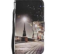 Para iPhone X iPhone 8 iPhone 8 Plus Case Tampa Carteira Porta-Cartão Com Suporte Flip Estampada Corpo Inteiro Capinha Vista da cidade