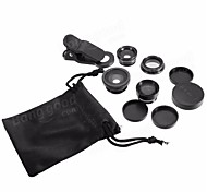 cheap -5-In-1 Set Fish Eye Wide Angle Marco Telephoto Lens CPL Lens For iPhone 7 6/6S Plus  black