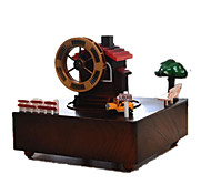 Music Box Windmill Toy Cars Toys Square Windmill Wooden 1 Pieces Not Specified Valentine's Day Gift