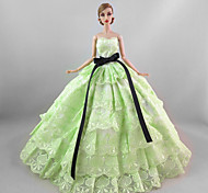 Party/Evening Dresses For Barbie Doll Light Green Dress For Girl's Doll Toy