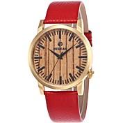 Недорогие -Муж. Жен. Модные часы Часы Дерево Японский Кварцевый деревянный Натуральная кожа Группа Кулоны На каждый день Красный