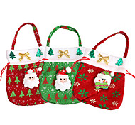 3PC Cute Christmas Sack Gift Xmas Santa Claus Treat Bags Kids Tote Pouch Candy Cookies Present Bag Christmas Ornaments Supplies