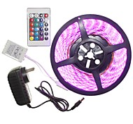 5M 300x5050LED Strip Light Sets  Waterproof RGB 24 key controller AC100-240V AU / EU / US / UK Power Plug  DC12V 2A