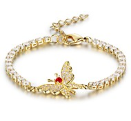 Women's Tennis Bracelet AAA Cubic Zirconia Elegant Gold Plated Butterfly Jewelry For Party