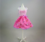 For Barbie Doll Print Pink Dress For Girl's Doll Toy