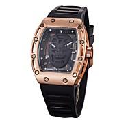 baratos -Homens Mulheres Relógio Militar Relógio Esqueleto Relógio de Pulso Chinês Quartzo Borracha Banda Preta