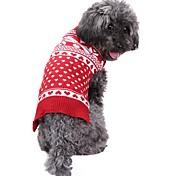 Недорогие -Собака Свитера Одежда для собак Рождество В снежинку Красный Костюм Для домашних животных