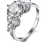 Women's Engagement Ring Cubic Zirconia Fashion Luxury Zircon Titanium Steel Jewelry For Wedding Party