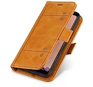 Недорогие -Кейс для Назначение Apple iPhone X iPhone 8 Бумажник для карт Кошелек Флип Чехол Сплошной цвет Твердый Настоящая кожа для iPhone X iPhone