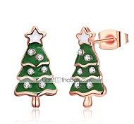 Women's Stud Earrings Fashion Gift Zircon Copper Silver Plated Rose Gold Plated Alloy Tree of Life Christmas tree Jewelry For Evening