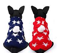 cheap -Dog Sweater Dog Clothes Stars Red Blue Chinlon Costume For Pets Casual/Daily