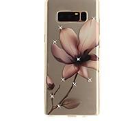 Недорогие -Кейс для Назначение SSamsung Galaxy Note 8 Стразы Ультратонкий Прозрачный С узором Кейс на заднюю панель Цветы Мягкий ТПУ для Note 8 Note