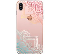 cheap -Case For Apple iPhone X iPhone 8 iPhone 8 Plus Transparent Pattern Back Cover Lace Printing Soft TPU for iPhone X iPhone 8 Plus iPhone 8