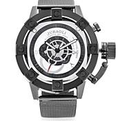 Men's Fashion Watch Wrist watch Chinese Quartz Dual Time Zones Large Dial Metal Band Cool Casual Black