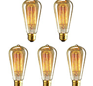 cheap -5pcs 40W E26/E27 ST64 Warm White 2200-2700 K Incandescent Vintage Edison Light Bulb AC 220-240V V