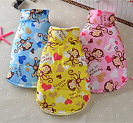 cheap -Dog Vest Dog Clothes Breathable Casual/Daily Cartoon Yellow Blue Pink Costume For Pets