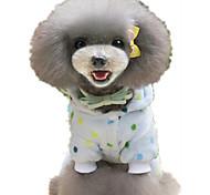 Dog Pajamas Dog Clothes Casual/Daily Polka Dots Light Blue Yellow