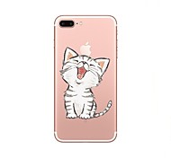 cheap -Case For Apple iPhone X iPhone 8 Transparent Pattern Back Cover Cat Soft TPU for iPhone X iPhone 8 Plus iPhone 8 iPhone 7 Plus iPhone 7