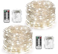 cheap -String Lights 100 LEDs Warm White White Multi Color Remote Control / RC Dimmable Waterproof Color-Changing Battery