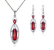 Women's Drop Earrings Necklace Crystal Rhinestone Fashion Luxury Crystal Rhinestone Oval Earrings Necklace For Wedding Party Wedding Gifts