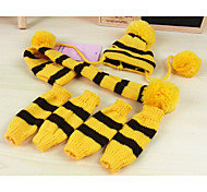 Dog Socks Bandanas & Hats Dog Clothes Warm Keep Warm Stripe Yellow Pink Rainbow Costume For Pets