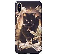 cheap -Case For Apple iPhone X iPhone 8 Glow in the Dark Pattern Embossed Back Cover Cat Hard PC for iPhone X iPhone 8 Plus iPhone 8 iPhone 7
