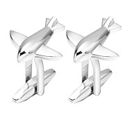 cheap -Plane / Aircraft Silver Cufflinks Copper Romantic Engagement Men's Costume Jewelry