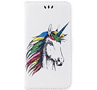 baratos -Capinha Para Apple iPhone X iPhone 8 iPhone 8 Plus Porta-Cartão Flip Estampada Com Relevo Capa Proteção Completa Unicórnio Animal Rígida