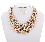 cheap -Women's Bridal Jewelry Sets , Fashion Wedding Gift Imitation Pearl Circle 1 Necklace Earrings