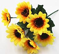 abordables -30 cm 5 piezas 7 cabeza / rama sol flor decoración del hogar flores artificiales
