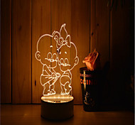 cheap -1 Set Of Decorative Acrylic 3d Night Light LED Bedroom Lamp Mood Lamp, Hand Scanning, Dimming, Color Change, 3W, Children