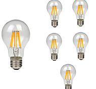 abordables -6pcs 8W 760lm E26 / E27 Bombillas de Filamento LED A60(A19) 8 Cuentas LED COB Decorativa Blanco Cálido Blanco Fresco 220-240V