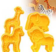 Недорогие -Формы для нарезки печенья Слон Лев Зебра Животный принт Мультфильм образный конфеты Для Cookie Для шоколада Печенье Торты Пластик