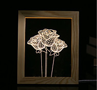 cheap -1 Set Of 3D Mood Night Light LED Lights USB Bedroom Photo Frame Lamp Gifts Rose