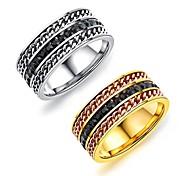 Недорогие -мужская группа кольца мода старинные титановые стали позолоченные ювелирные изделия круглый для свадьбы