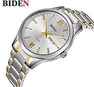 cheap -BIDEN Men's Quartz Wrist Watch Chinese Calendar / date / day / Casual Watch Stainless Steel Band Casual / Elegant / Fashion Silver / Gold