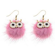 cheap -Women's Lovely Owl Fur Drop Earrings - Hip-Hop Pink / Dark Green Earrings For Daily