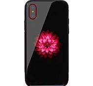 Недорогие -Кейс для Назначение Apple iPhone X iPhone 8 Защита от удара С узором Кейс на заднюю панель Цветы Твердый Закаленное стекло для iPhone X